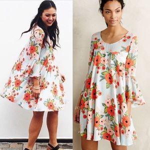 Anthropologie Fluttered Blooms Swing Dress